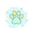 cartoon colored paw print icon in comic style dog vector image