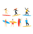 cartoon different characters people surfers set vector image
