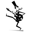 cartoon long mustache guitarist is playing music vector image