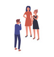 cartoon male photographer shooting two female vector image vector image