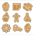 Christmas cookie icons set vector image vector image