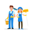 Cleaning service staff smiling cartoon characters