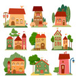 collection of cute cartoon houses in child style vector image vector image