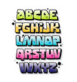 colorful graffiti font with highlights and vector image vector image