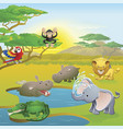 cute african safari animal cartoon scene vector image vector image