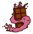 delicious chocolate bar cute kawaii cartoon vector image