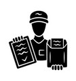 document delivery glyph icon express courier vector image vector image