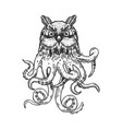fantastic owl octopus animal engraving vector image vector image