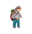 funny sloth traveling with backpack cute animal vector image vector image