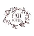 Goji berries hand-sketched typographic element vector image