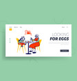 grandmother and little girl painting eggs landing vector image vector image