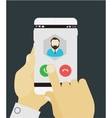Hand answering to call on mobile device vector image