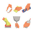 hands with cleaning equipment vector image vector image