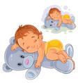 little baby in a nappy asleep dozing on a vector image