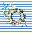 Marine background lifebuoy frame vector image vector image