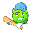 playing baseball shrub character cartoon style vector image