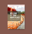 poster template with landscape in autumn design vector image vector image
