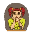 Pretty girl with red hair sitting in front of vector image vector image