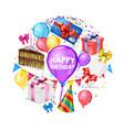 realistic happy birthday round concept vector image vector image