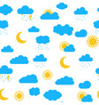 seamless pattern with clouds sun moon snow rai vector image vector image