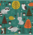 seamless pattern with forest animals vector image vector image
