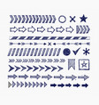 set blue doodle arrow dividers pointers vector image