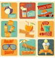 Set of retro stylized summer icons with vector image vector image