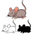 set rat cartoon vector image