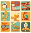 set retro stylized summer icons vector image vector image