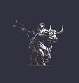 sign of the zodiac taurus bull vector image vector image
