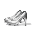 sketch stiletto in black and white vector image vector image