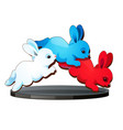 statuette in the form of three jumping hares vector image