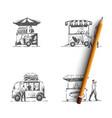 street food - ice cream hot dog burger vector image vector image