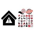 Warning Building Flat Icon with Bonus vector image vector image