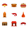 welcome vietnam icon set flat style vector image vector image