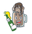 with beer milkshake mascot cartoon style vector image vector image
