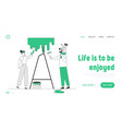young family make repair at home website landing vector image vector image