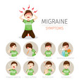 young man with migraine symptoms icons set vector image vector image