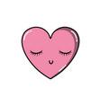 heart kawaii symbol of love with closed eyes vector image