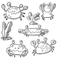 set with crab and algae vector image