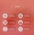 Stylized icons for store in internet vector image