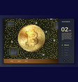 3d bitcoin coin and circuits site template vector image vector image