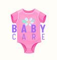 baby care banner pink onesie clothing for infant vector image