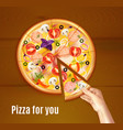 baked pizza realistic composition vector image