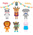 birthday greeting card with funny cartoon animals vector image vector image