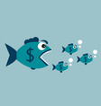 carnivorous fish with dollar vector image vector image