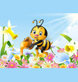 cartoon bee holding honey bucket with flower backg vector image