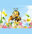Cartoon bee holding honey bucket with flower backg