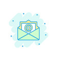 cartoon colored mail envelope icon in comic style vector image vector image