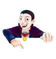 cartoon dracula pointing down vector image vector image